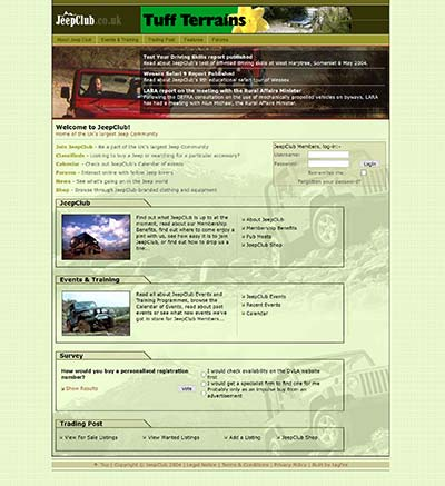 JeepClub website, circa June 2004