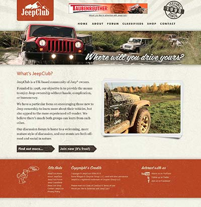JeepClub website, circa July 2011